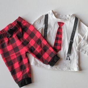 Plaid Tie Infant Outfit - 3-6M